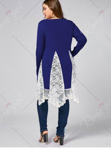 Outfits Plus Size Lace Trim  Swing Long Sleeve T-shirts - 5XL BLUE Mobile