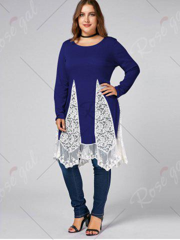Outfits Plus Size Lace Trim  Swing Long Sleeve T-shirts - BLUE 4XL Mobile