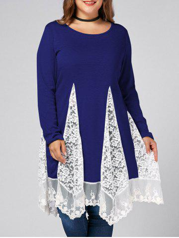 Hot Plus Size Lace Trim  Swing Long Sleeve T-shirts - BLUE 2XL Mobile