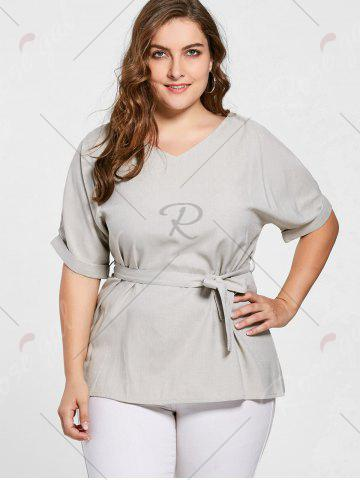 Buy Belted V Neck Plus Size Top - 5XL GRAY Mobile