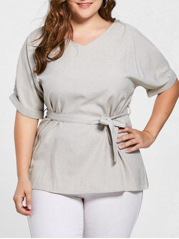 Buy Belted V Neck Plus Size Top - 4XL GRAY Mobile