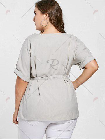 Fancy Belted V Neck Plus Size Top - 3XL GRAY Mobile