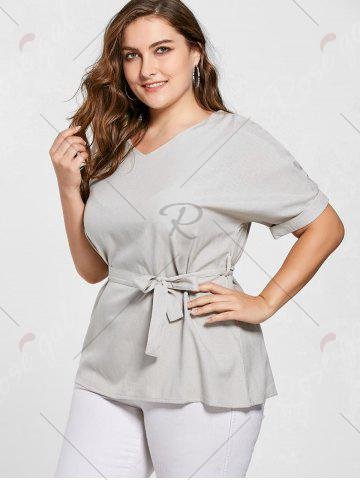 Sale Belted V Neck Plus Size Top - 2XL GRAY Mobile