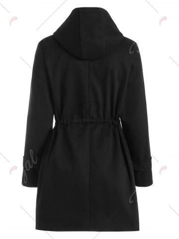 Fancy Hooded Zipper Drawstring Waist Plus Size Coat - 3XL BLACK Mobile