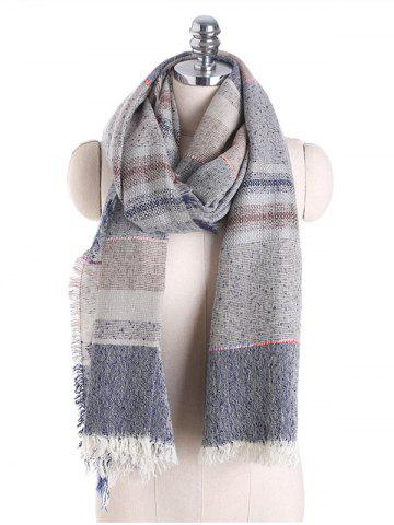 Plaid Cotton Blending Fringed Brim Shawl Scarf - Gray