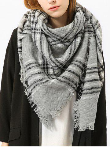 Fringed Brim Checked Shawl Scarf - Gray