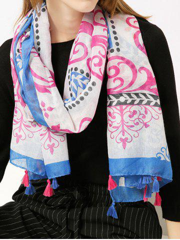 Tassels Retro Ombre Floral Printing Shawl Scarf Bleu