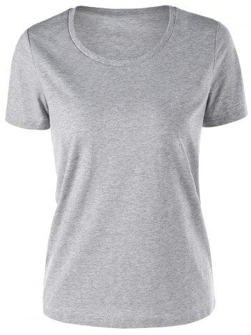 Online Short Sleeve Basic T-shirt GRAY M