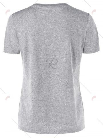 Discount Short Sleeve Basic T-shirt - M GRAY Mobile
