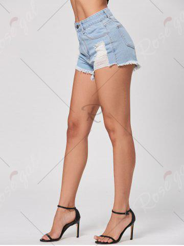 Store Denim Mini Distressed Cuff Off Shorts - M LIGHT BLUE Mobile