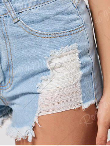 Sale Denim Mini Distressed Cuff Off Shorts - M LIGHT BLUE Mobile