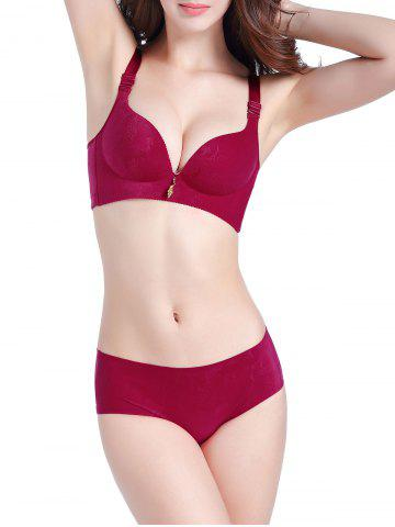 Store Push Up Seamless Jacquard Bra Set - 70A WINE RED Mobile