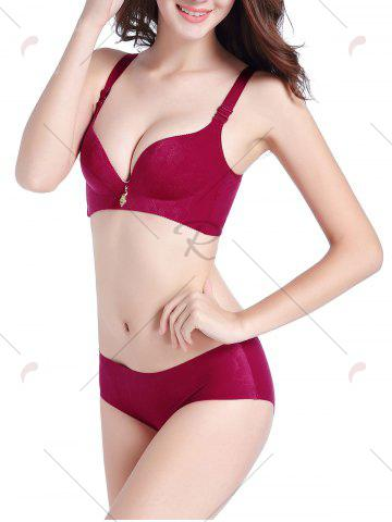 Best Push Up Seamless Jacquard Bra Set - 70A WINE RED Mobile