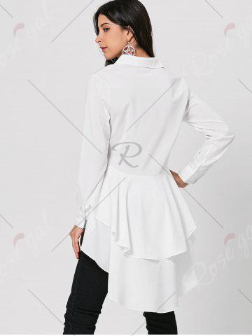 Discount High Low Dovetail Tunic Blouse - S WHITE Mobile