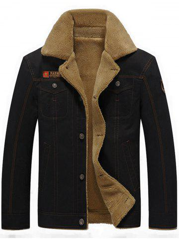Chest Flap Pocket Faux Shearling Jacket