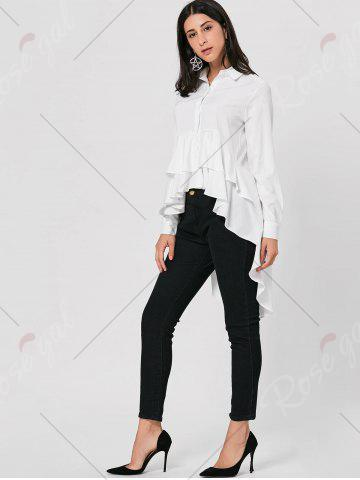 Buy High Low Dovetail Tunic Blouse - M WHITE Mobile