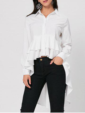 Discount High Low Dovetail Tunic Blouse - M WHITE Mobile