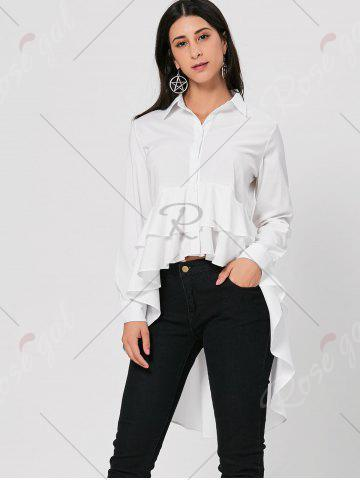 Hot High Low Dovetail Tunic Blouse - L WHITE Mobile