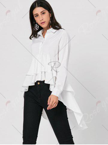 Best High Low Dovetail Tunic Blouse - L WHITE Mobile