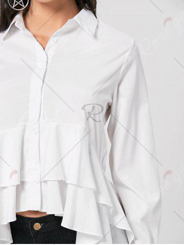 Fancy High Low Dovetail Tunic Blouse - L WHITE Mobile