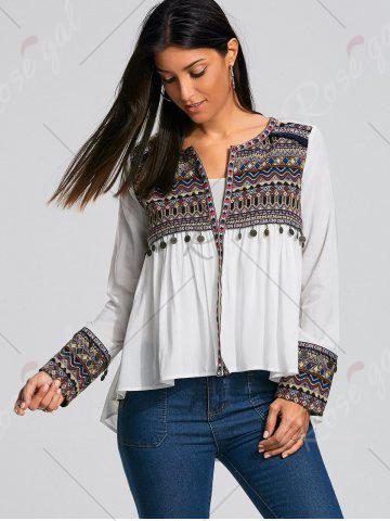 Sale Coin Pendant High Low Ethnic Smock Blouse - L WHITE Mobile
