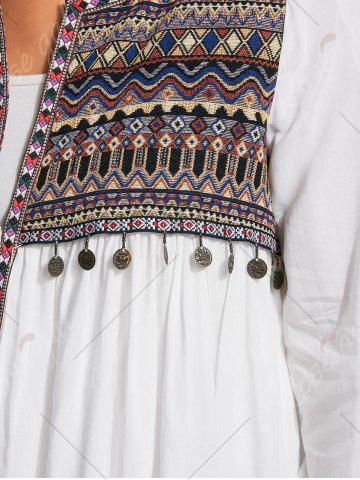 Fancy Coin Pendant High Low Ethnic Smock Blouse - L WHITE Mobile