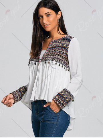 Online Coin Pendant High Low Ethnic Smock Blouse - L WHITE Mobile