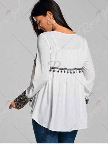 Outfits Coin Pendant High Low Ethnic Smock Blouse - L WHITE Mobile