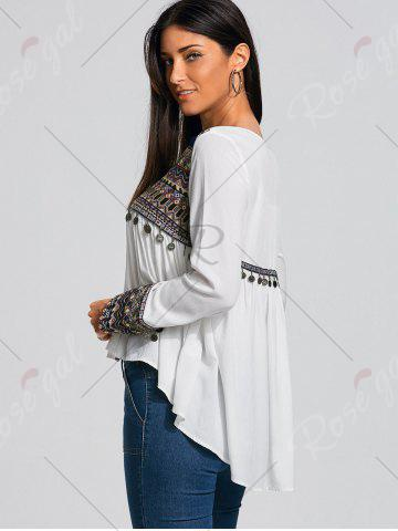 Fancy Coin Pendant High Low Ethnic Smock Blouse - XL WHITE Mobile