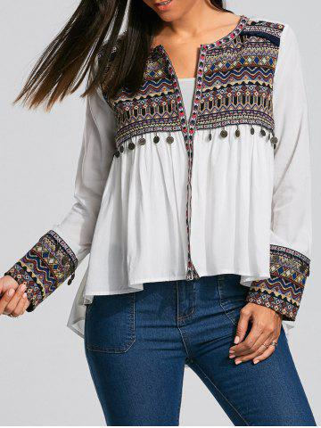 Online Coin Pendant High Low Ethnic Smock Blouse - XL WHITE Mobile