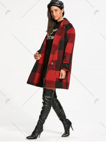 Hot Double Breasted Tartan Pea Coat - L RED WITH BLACK Mobile