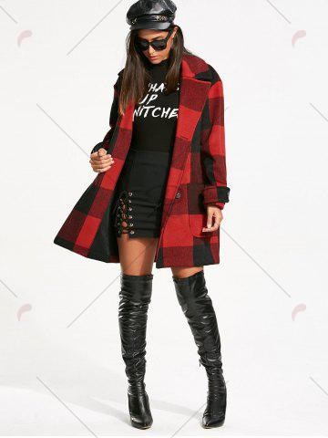 Latest Double Breasted Tartan Pea Coat - L RED WITH BLACK Mobile