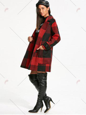 Best Double Breasted Tartan Pea Coat - L RED WITH BLACK Mobile