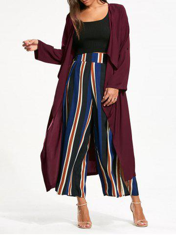 Best Split Back Longline Waterfall Coat - S BORDEAUX Mobile