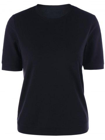 Shop Crew Neck Slim Basic T-shirt - L BLACK Mobile