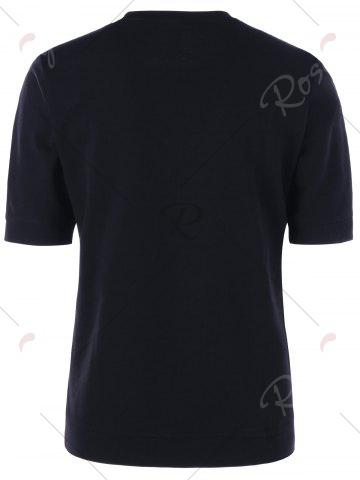 Unique Crew Neck Slim Basic T-shirt - L BLACK Mobile