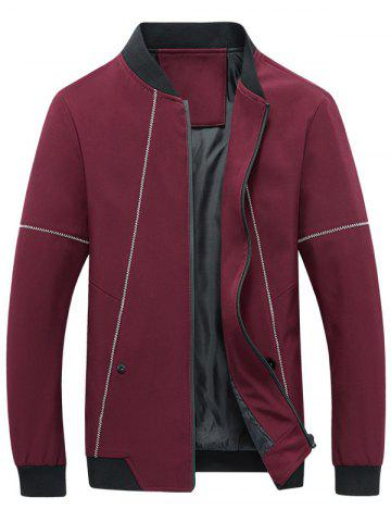Fancy Suture Panel Stand Collar Zip Up Jacket RED 5XL
