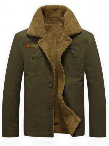 Best Chest Flap Pocket Faux Shearling Jacket ARMY GREEN M