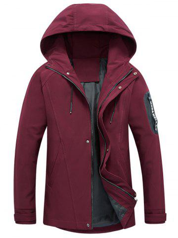 Shop Zip Pocket Hooded Graphic Braid Jacket - L RED Mobile