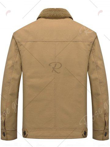 Best Chest Flap Pocket Faux Shearling Jacket - 3XL KHAKI Mobile