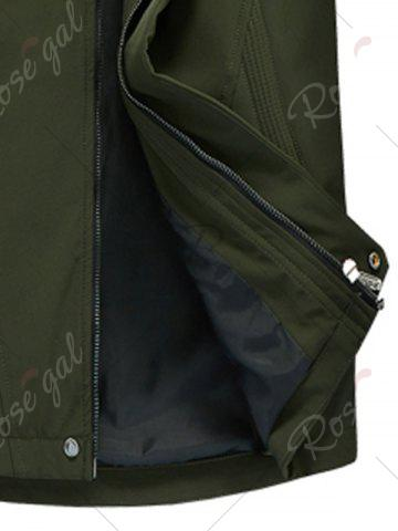 Chic Zip Pocket Hooded Graphic Braid Jacket - 4XL ARMY GREEN Mobile
