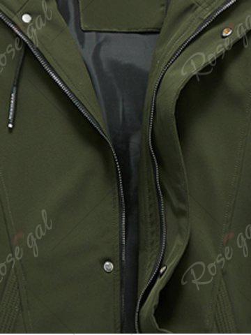 Affordable Zip Pocket Hooded Graphic Braid Jacket - 3XL ARMY GREEN Mobile