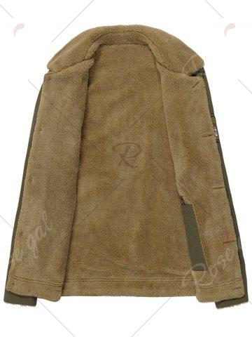 Shop Chest Flap Pocket Faux Shearling Jacket - L KHAKI Mobile