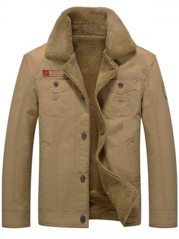 New Chest Flap Pocket Faux Shearling Jacket - L KHAKI Mobile