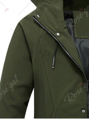 Fancy Zip Pocket Hooded Graphic Braid Jacket - L ARMY GREEN Mobile