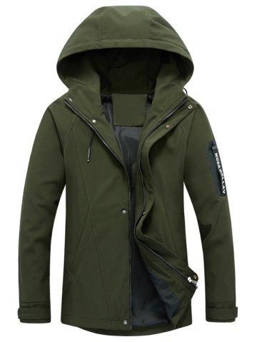 Affordable Zip Pocket Hooded Graphic Braid Jacket - L ARMY GREEN Mobile