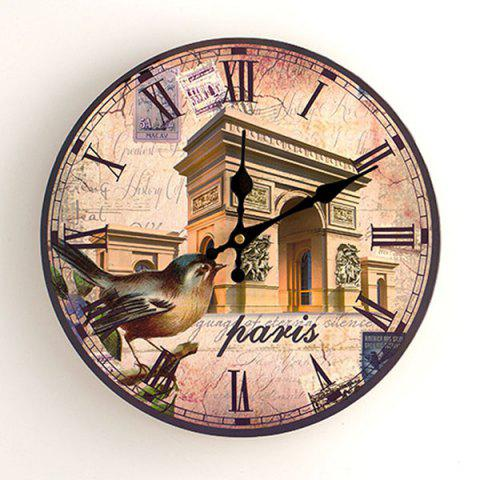 Cheap Triumphal Arch Analog Round Wood Wall Clock ANTIQUE BROWN