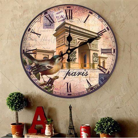 Online Triumphal Arch Analog Round Wood Wall Clock - ANTIQUE BROWN  Mobile