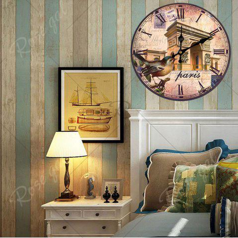 Discount Triumphal Arch Analog Round Wood Wall Clock - ANTIQUE BROWN  Mobile