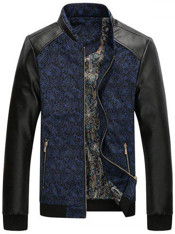 Outfit PU Leather Panel Floral Velvet Zip Up Jacket BLUE L